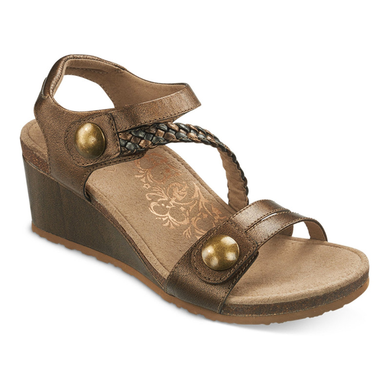 Aetrex Women's Naya Braided Quarter Strap Wedge Sandal - Bronze