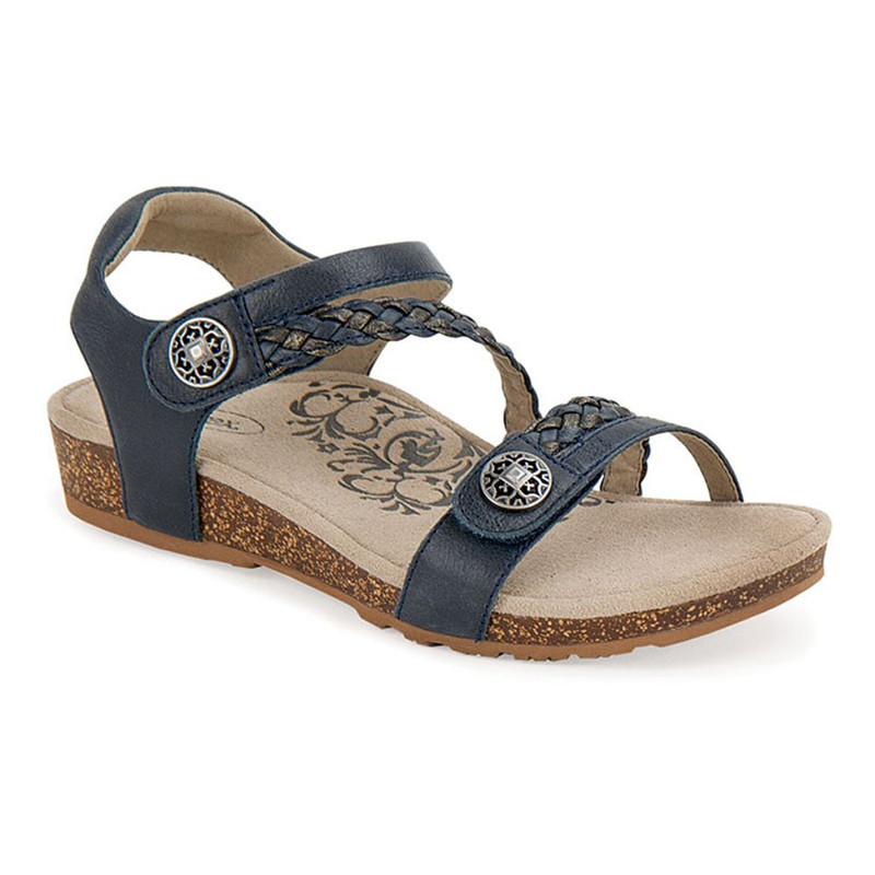 Aetrex Women's Jillian Braided Quarter Strap - Navy