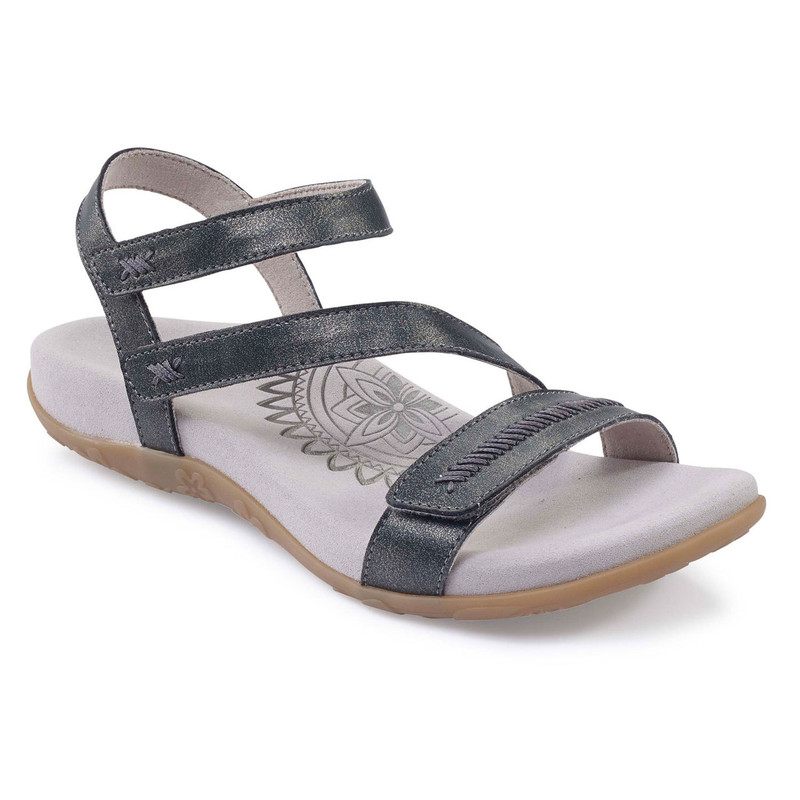 Aetrex Women's Gabby Adjustable Sandal - Pewter