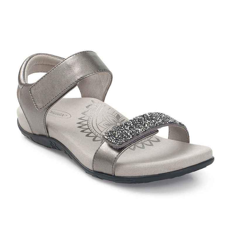 Aetrex Women's Maria Jeweled Quarter Strap - Gunmetal