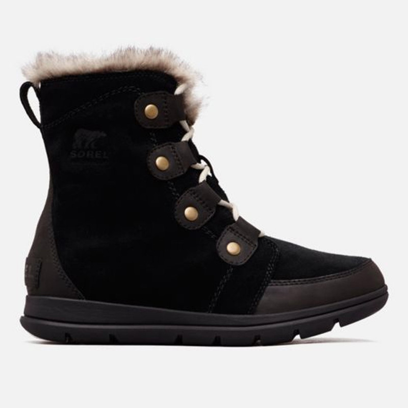 Sorel Women's Explorer Joan Boot - Black / Stone - 1808061-010 - profile
