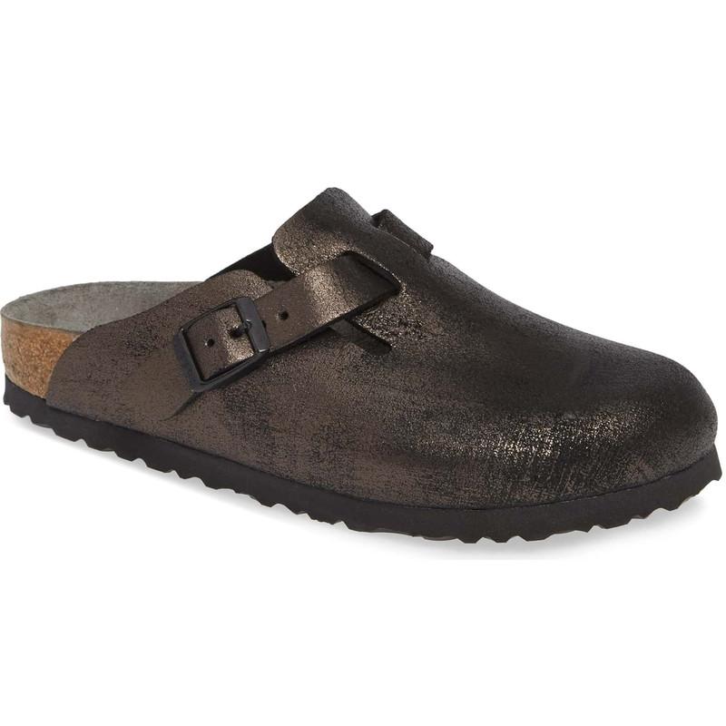 Birkenstock Boston - Washed Black Leather (Narrow Width) - 1011284 - Main Image