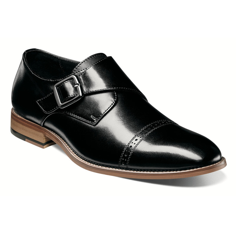 Stacy Adams Men's Desmond Cap Toe Monk Strap - Black
