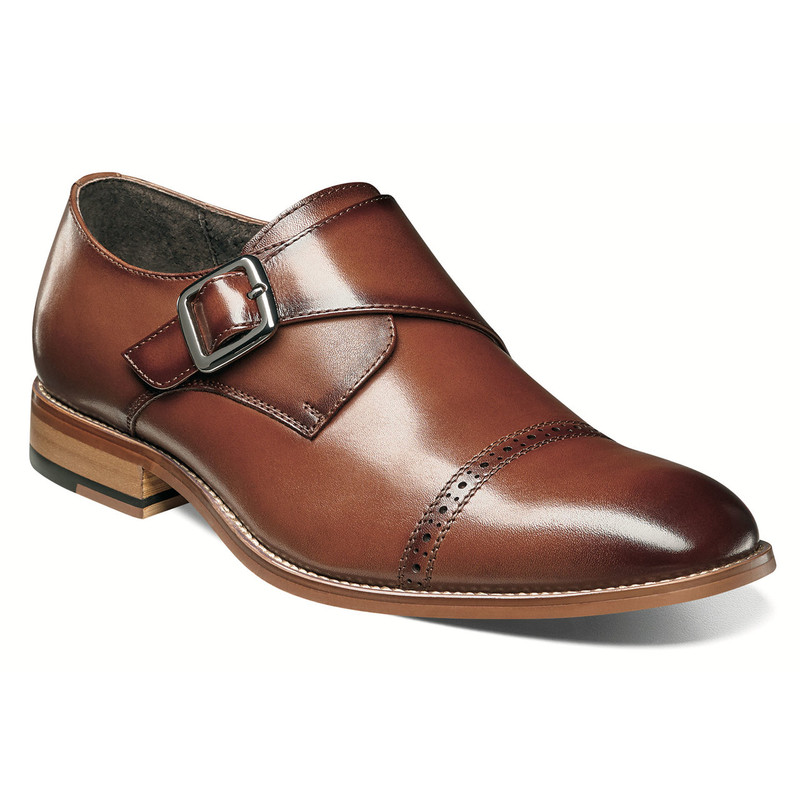 Stacy Adams Men's Desmond Cap Toe Monk Strap - Cognac