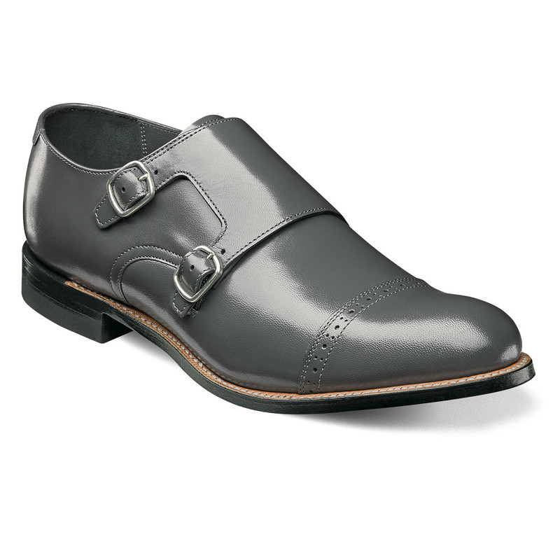 Stacy Adams Men's Madison Cap Toe Double Monk Strap - Gray
