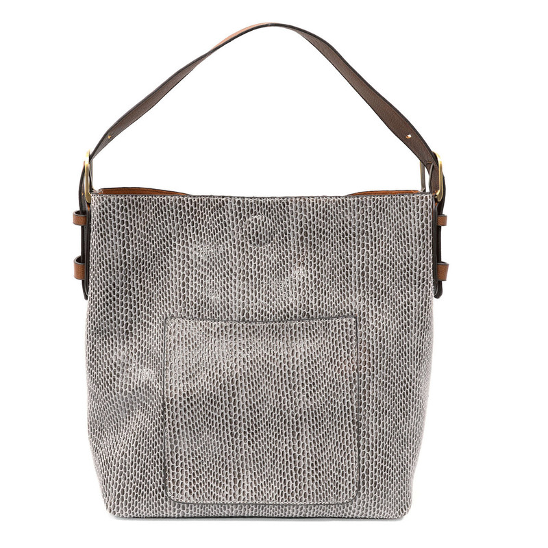 Joy Susan Python Sara Bucket Bag - Light Grey