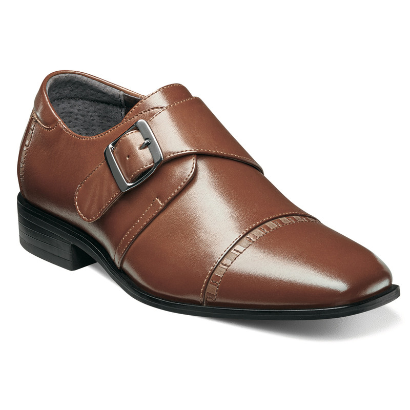 Stacy Adams Boy's Macmillian Cap Toe Monk Strap - Cognac - Profile Image