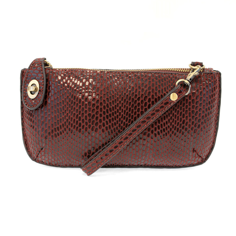 Python Mini Crossbody Wristlet Clutch - Burgundy - L8003-53 - Profile