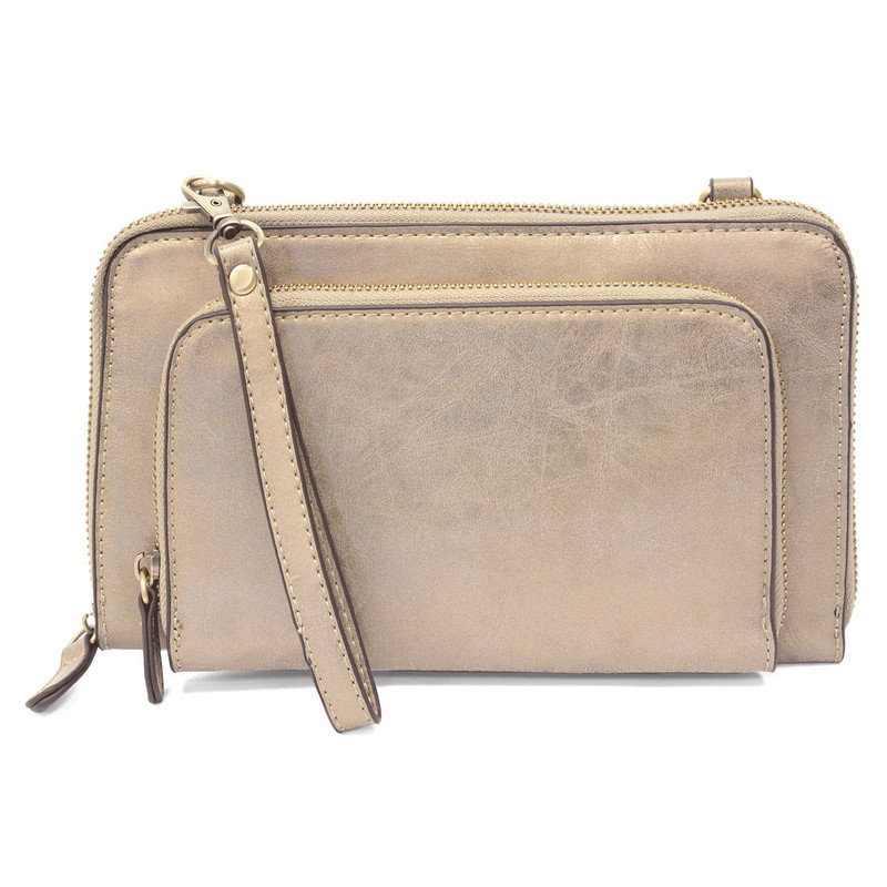 Joy Susan Brushed Mini Convertible Zip Wristlet - Light Metallic Gold - L8011-40 - Profile