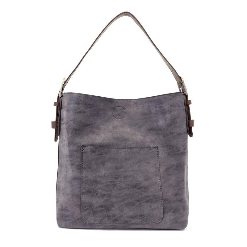 Joy Susan Lux Hobo Handbag - Navy / Brown