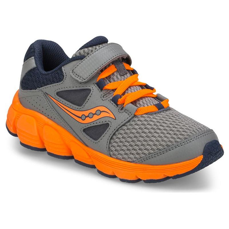 Saucony Little Kid's Kotaro 4 A/C Sneaker - Grey / Navy / Orange