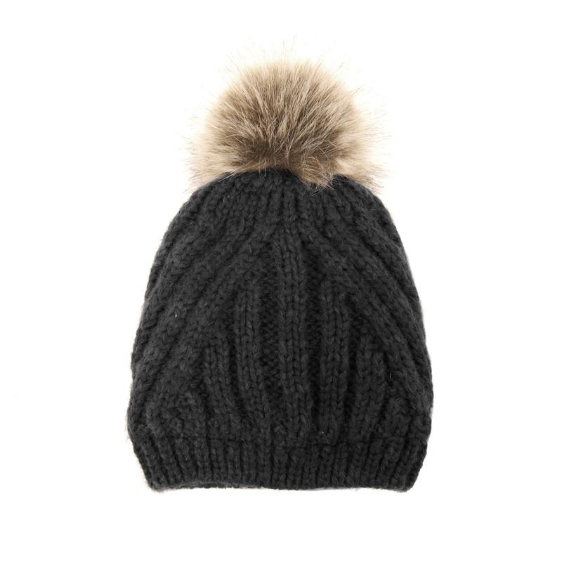 Joy Susan Women's Diagonal Knit Pom Pom Hat - Black - G9864-00 - Profile