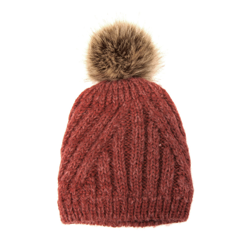 Joy Susan Women's Diagonal Knit Pom Pom Hat - Red - G9864-05 - Profile
