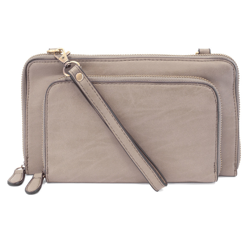 Joy Susan Brushed Mini Convertible Zip Wristlet - Smoke Grey - L8011-45 - Profile
