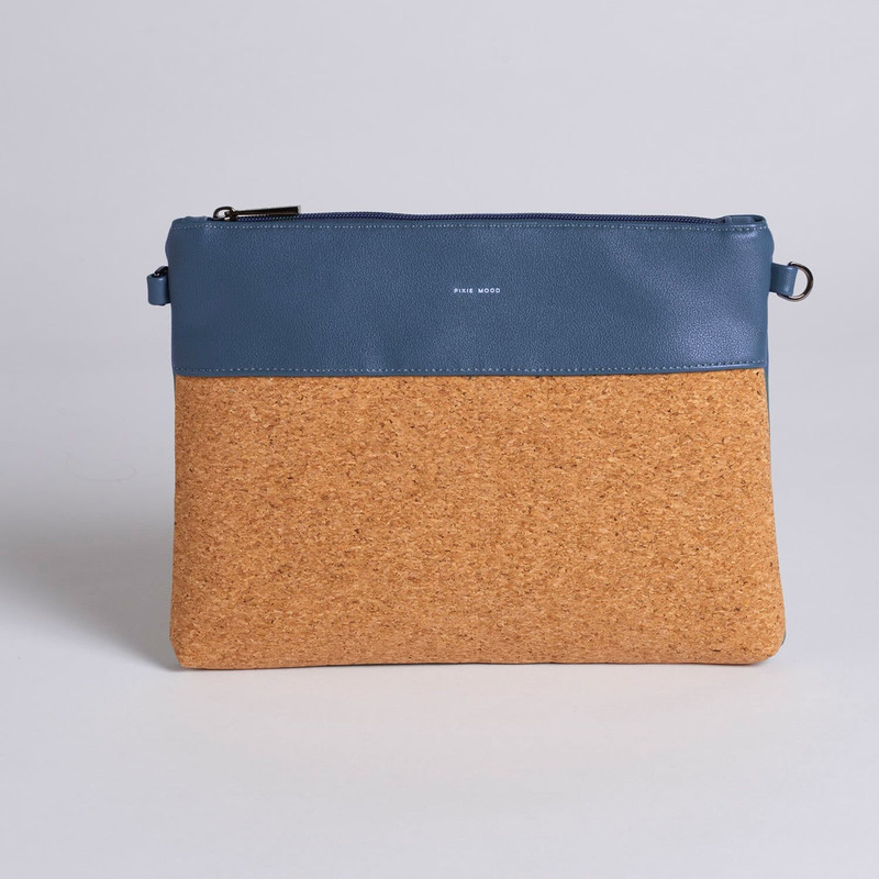 Pixie Mood Nicole Pouch Large - Midnight Blue / Cork - Profile
