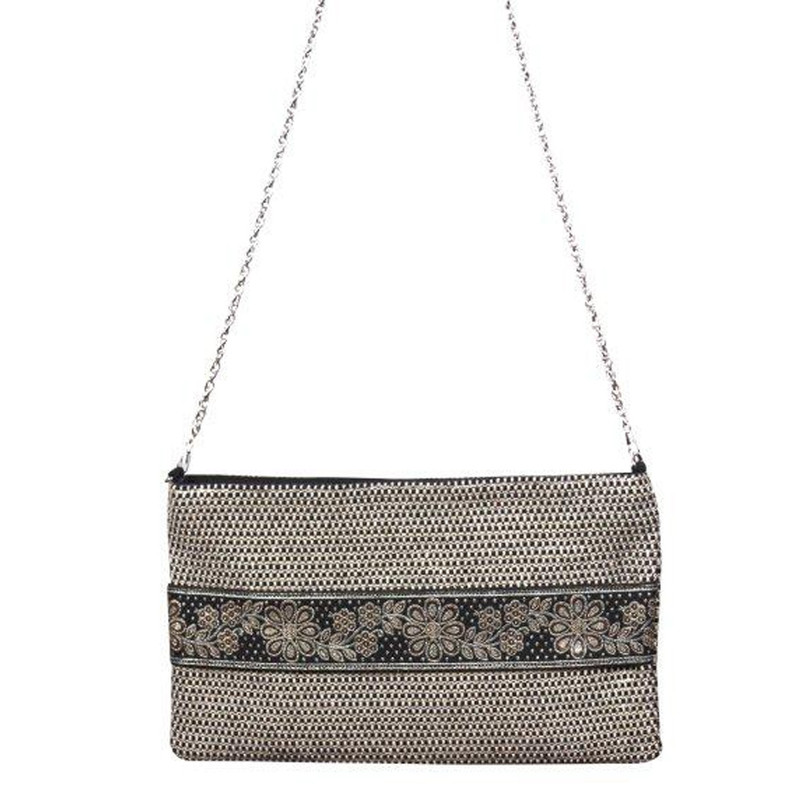 America & Beyond Zari Woven Clutch - Multi - Profile