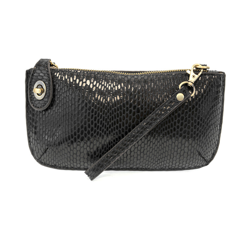 Joy Susan Python Mini Crossbody Wristlet Clutch - Black - L8003-00 - Profile