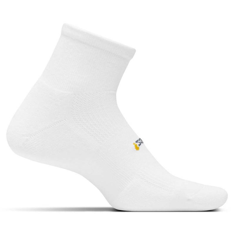 Feetures High Performance Cushion Quarter Crew Socks - White - FA2000