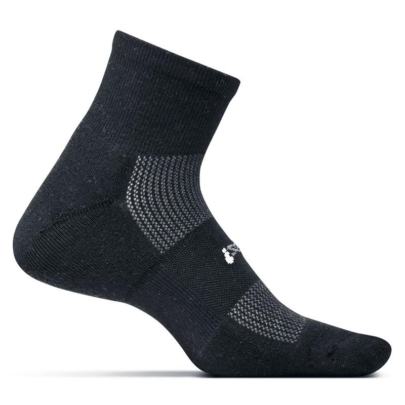 Feetures High Performance Cushion Quarter Crew Socks - Black - FA2001