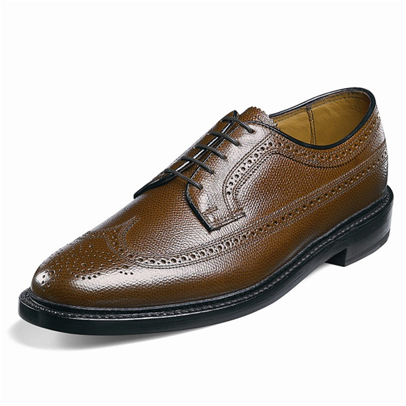 Florsheim Men's Kenoor (Wing Tip Brogue) - Tan Pebble Grain