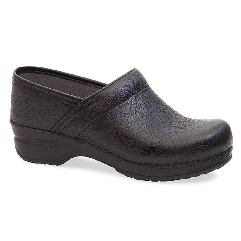 Dansko Women's Pro XP - Black Floral Tooled Leather
