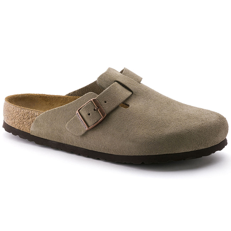 Birkenstock Boston Soft Footbed - Taupe Suede