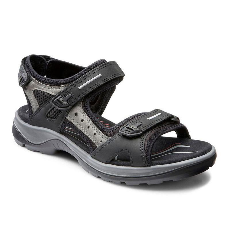 ECCO Women's Yucatan Sandal - Black / Mole - 69563-50034 - Angle