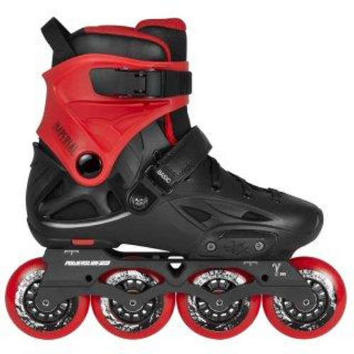 The Powerslide Imperial Basic 80 Inline Skates are urban skates that offer many of the same great features as the One, but at a lower cost. The in-step closure has been changed to a velcro strap to reduce lace bite and the frames were swapped out for the less expensive, but still highly capable Gamma frames. Comes stock with MyFit Fat Boy Liners. They provide comfort right out of the box, but can also be heat molded to speed up a customized form fit. High-end components surround a molded fiberglass composite shell that provides an exciting skating experience without breaking the bank.  PS Gamma 243mm Aluminum Frames ; Powerslide Hurricane 80mm 85A Wheels ; Wicked ABEC7 Bearings. No brake included.