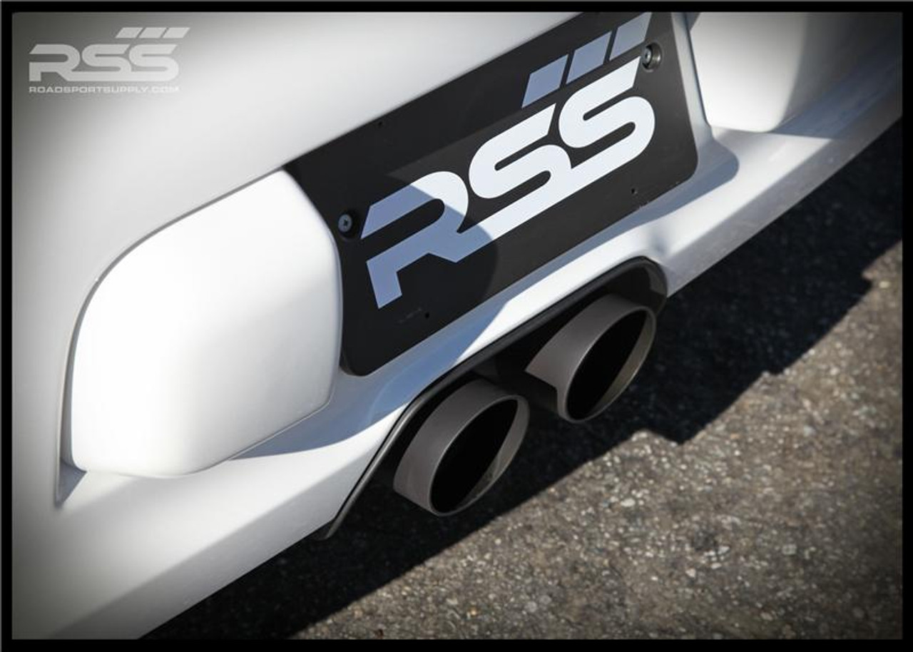 """The RSS 997GT3 X-PIPE CENTER EXHAUST w/ NEW ANGLE CUT TIPS • 3"""" Lower & 2"""" Upper 304 Stainless Steel Construction • Large 3 3/8"""" 304 Stainless Steel Angle Cut Dual Tailpipes Included (welded on) • Ceramic Coated Satin Black • Intoxicating Sound, Aggressive Motorsport Looks • Weighs Only 8 lbs. • All Hardware (clamps) Included • Fits 997.1 GT3/GT3RS & 997.2 (2010+) GT3/GT3RS • Handmade in Southern California, USA"""