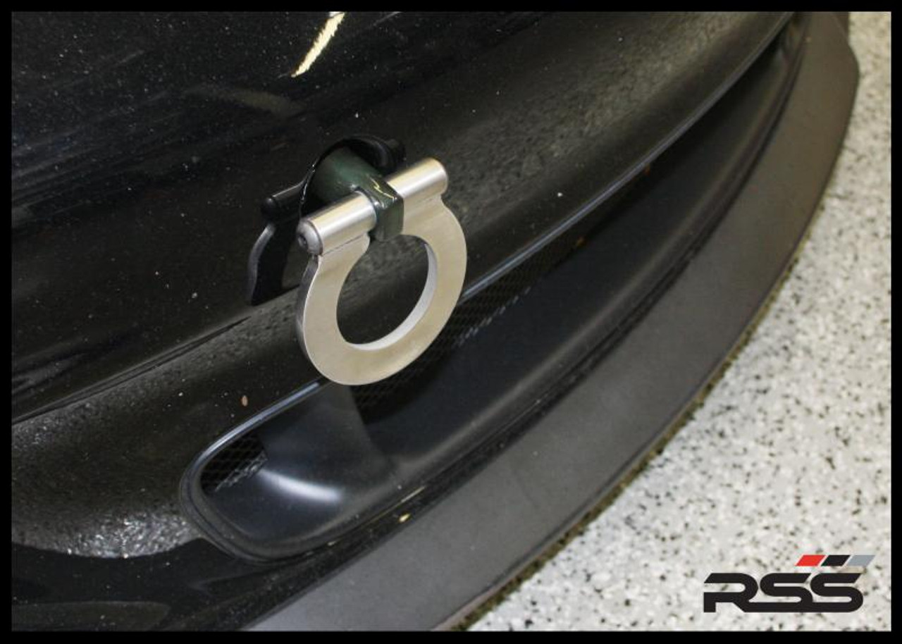 """RSS Tow Hooks for Porsche Automobiles. Designed, engineered and manufactured in USA. High quality and functionality for your Porsche. RSS Folding Tow Hooks for Porsche Models are engineered with a 90 Degree Angle Stop Design and with Adjustable Bumper Offset to prevent bumper cover contact. Made in USA at RSS. Easy to Install, Screws Into Factory Location; Black 1018 Steel Shaft w/Stainless Steel Hoop; Angle of Hoop is Adjustable; 2"""" Opening; Utilizes Special Factory Porsche Thread. Fits 944Turbo, 968, 964, 993, 986, 996, 987 & 997 Models Including Turbo, GT3 & GT3RS"""