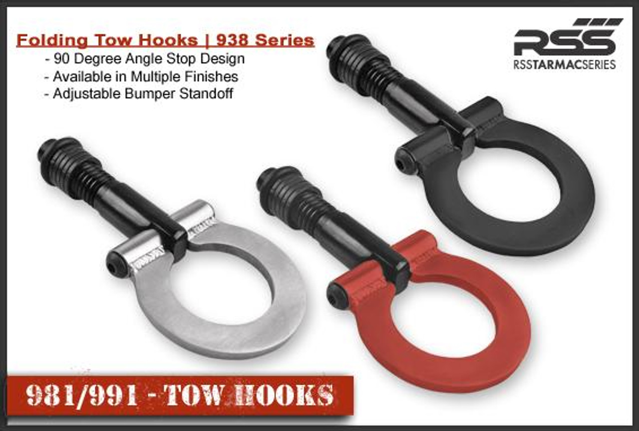 "RSS Tow Hooks for Porsche Automobiles. Designed, engineered and manufactured in USA. High quality and functionality for your Porsche. RSS Folding Tow Hooks for Porsche Models are engineered with a 90 Degree Angle Stop Design and with Adjustable Bumper Offset to prevent bumper cover contact. Made in USA at RSS. Easy to Install, Screws Into Factory Location; Black 1018 Steel Shaft w/Stainless Steel Hoop; Angle of Hoop is Adjustable; 2"" Opening; Utilizes Special Factory Porsche Thread Style; 981/982 Boxster, Cayman, and 991 Carrera, 991.1 GT3/RS and Turbo: BLACK (#938-30), and RED (#938-34)."