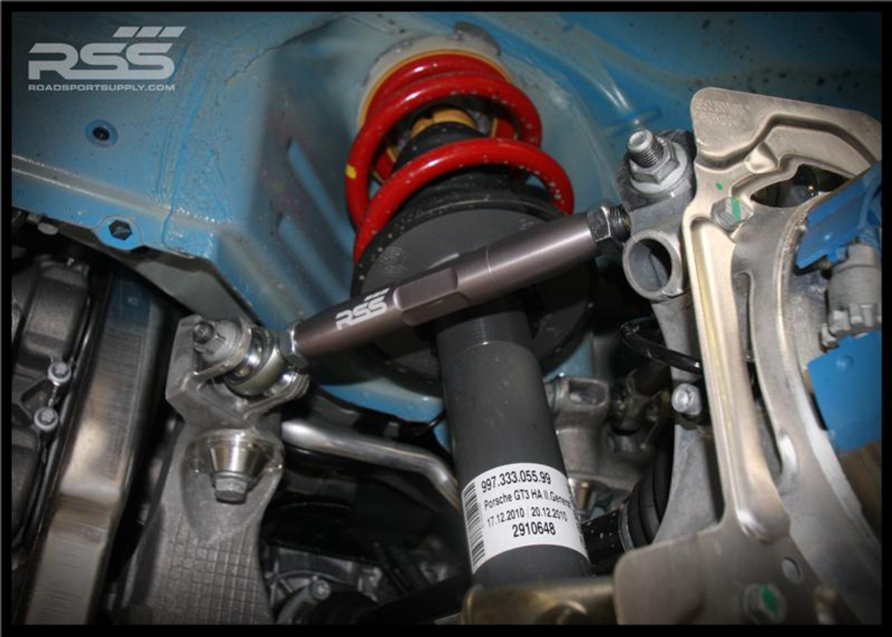 996 & 997 ADJUSTABLE REAR LINK KIT (DOGBONES) Set of 4. The RSS Adjustable Rear Link Kit is the proper way to correct the rear suspension geometry of lowered 996 and 997 models when necessary. Greatly improves handling and feedback by removing rubber bushing deflection. Lowered vehicles with stock links may have additional negative camber in the rear which can prematurely wear out rear tires as the factory eccentric bolts do not offer enough adjustment to properly re-align the car to desired specifications. Vehicles that have not been lowered can also benefit from these components and experience better handling and control. AVAILABLE FOR ALL PORSCHE® 996 & 997 MODELS INCLUDING TURBO & GT3/GT3RS For off road use only.