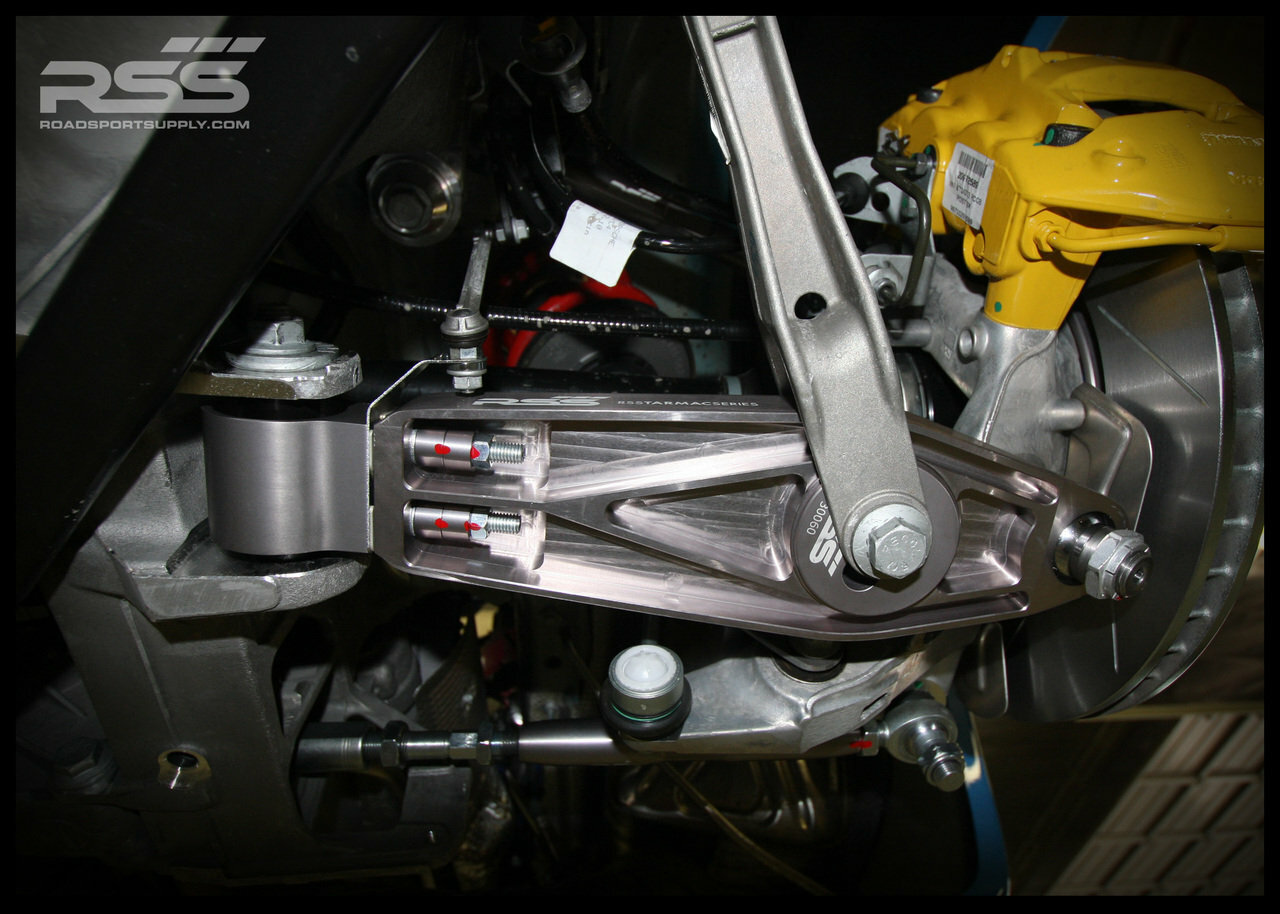 """RSS Part # TS-2 """"Tarmac Stage 2"""" Suspension Kit (997.1 GT3/RS Chassis). Winner of the """"2014 Spanish Tarmac Rallye Championship"""" Results Matter…not hype"""" RSS Tarmac Stage 2 Suspension System (TS-2 or TS-2-BC) is the most rigorously engineered, tested, validated, and motorsport homologated aftermarket mono-ball suspension system available for your Porsche....Period! RSS TARMAC SERIES Motorsports Suspension Kits have been winning championships, races and setting track records in various forms of motorsport (Sports Car Racing, Endurance Racing and Rally) around the world. RSS is the preferred suspension of choice of professional race teams, tuners, track day junkies, and driving enthusiasts around the world. - 2013 ROLEX GRAND-AM GX CHAMPIONS - - 2014 Supplier of PIRELLI GT3 CUP TROPHY USA - 2014 FiA – GROUP GT RALLY WINNERS - 2015 PIRELLI WORLD CHALLENGE TC CHAMPIONS"""