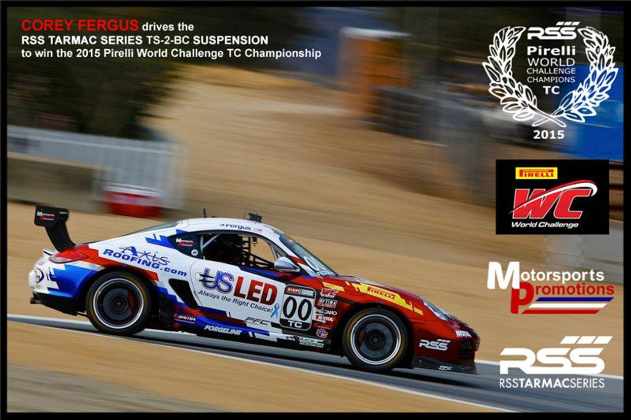 """RSS Part # TS-2-BC Tarmac Stage 2 Suspension Kit for Boxster/Cayman 987, 986 Boxster / Caymans. """"Winner of 2015 PIRELLI WORLD CHALLENGE TC CHAMPIONSHIP, 2013 ROLEX GRAND-AM GX CHAMPIONSHIP"""". """"Results Matter…not hype"""" RSS Tarmac Stage 2 Suspension System (TS-2 or TS-2-BC) is the most rigorously engineered, tested, validated, motorsport homologated aftermarket suspension system available for your Porsche....Period! RSS TARMAC SERIES Motorsports Suspension Kits have been winning championships, races and setting track records in various forms of motorsport (Sports Car Racing, Endurance Racing and Rally) around the world. RSS is the suspension of choice of professional race teams, tuners, track day junkies, and driving enthusiasts around the world. - 2013 ROLEX GRAND-AM GX CHAMPIONS - 2014 PIRELLI GT3 CUP TROPHY USA –- 2014 FiA – SPANISH RALLY TARMAC CHAMPIONS - 2015 PIRELLI WORLD CHALLENGE TC CHAMPIONS -"""