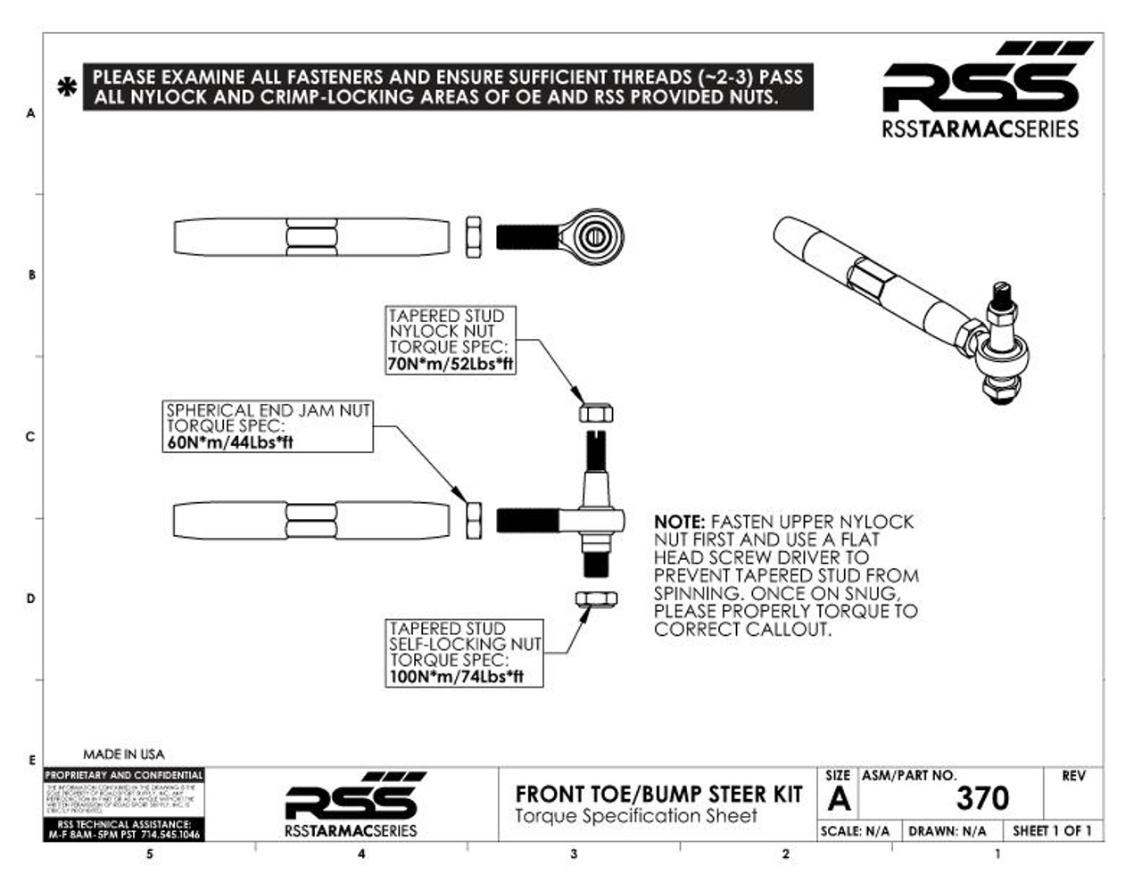 RSS Front Bump/Toe Steer - Outer Ball Joint Pin Rebuild Kit: Includes- 1x Tapered Stud, 1 x Upper Lock Nut, 1 x Lower Lock Nut, 2 x Stud Spacers/Washers. USER NOTE: A new 382 Kit should be installed once ball joint pin has been removed from hub. (Fits Part # 370 + 371).