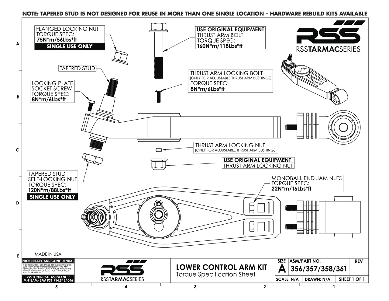 """#356 RSS TARMAC SERIES 2-PIECE COMPLETE LOWER CONTROL ARM KIT - Front Axle (Pair of 2). Fits front axle 986, 996, 997 GT3/GT3RS, and 997 GT2. Includes: Adjustable/Non-Hydraulic Replacement Thrust Arm Bushings, 1mm/2mm/3mm/7mm Shims, Spherical Monoball Ends.   RSS Tarmac Series Motorsport Lower Control Arms are specifically engineered for use on lowered vehicles that have reduced travel struts/dampers If you need assistance in identifying your suspension type please contact us. For specific fitment information refer to the """"Chassis Fitment Guide and Lower Control Arm Fitment Notes"""" (See Images Below).  The RSS Tarmac Series – Motorsports Control Arms are designed for the Porsche driver who demands the absolute maximum in precision handling, feedback and control from their chassis. This system has been specially engineered to provide unmatched performance, quality, strength and serviceability. RSS Tarmac Series Control Arms address the performance related shortcomings of the OEM rubber mounted suspension components which were designed to reduce road noise and vibration for everyday street use. The use of rubber injected moldings in mounting components such as the control arms, thrust arms, upper links and toe arms is a compromise in regards to maximum suspension performance. The soft rubber deflects under suspension load which in turn causes unwanted movement (deflection) between the suspension and chassis. Data also shows that temporary changes in spring rates can occur as well. These movements and changes result in unnecessary corrections and inputs from the driver.  FEATURES & BENEFITS • Completely Serviceable: For the extreme, repetitive track day enthusiast or racer, our high strength steel alloy spherical bearings (with a friction reducing, longevity increasing Teflon liner) can be replaced unlike the motorsports arms, in which case a new set of arms will need to be purchased if the spherical bearings are worn out. • Adjustable Suspension Geometry: Adjust dynami"""