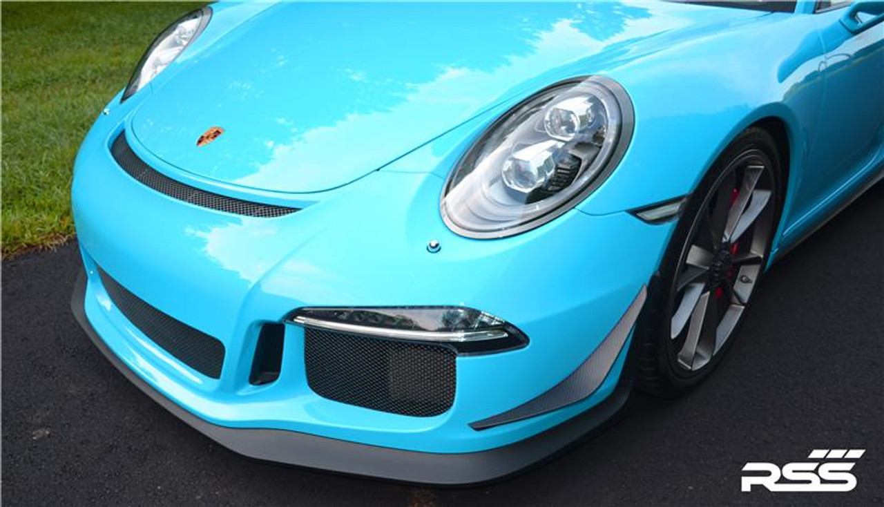 RSS - CarbonAero Kit # 240/M (Matte Clear Coat) for 991.1 GT3 (Does not fit RS). Includes FRONT CANARDS / DIVE PLANES, REAR WING GURNEY FLAP AND REAR ENGINE COVER GURNEY FLAP. Aesthetically pleasing and aggressive in appearance, Canards and Gurney Flaps have a functional purpose with direct benefits on street and motorsports applications. Designed with the latest CAD technology, constructed to exacting standards with pre-preg 2×2 Carbon Fibre Twill, finished in a matte clear coat with UV inhibitors, adhere with 3M VHB tape for easy application and removal, and are 100% Manufactured in USA. Components are are of the highest quality and are guaranteed to fit.• Produce down force by deflecting oncoming air upward resulting in a net down force on the front and rear of the vehicle • Can direct air towards other important aero devices or cooling vents • Direct air away from the wheels and tires thereby reducing drag, turbulence and lift • Can be used to balance and tune front to rear down force levels