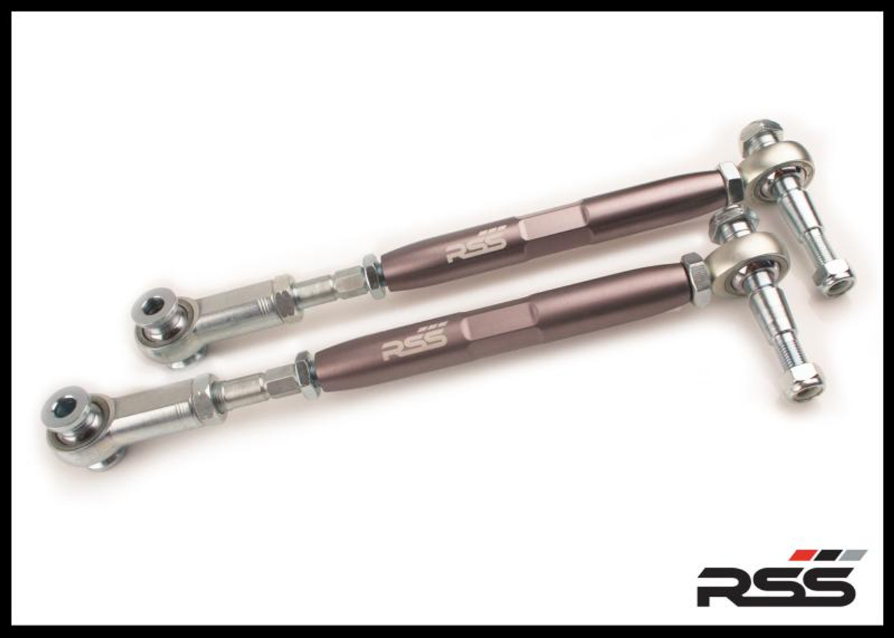 ADJUSTABLE REAR TOE STEER KIT Set of 2. The RSS Adjustable Rear Toe Steer Kit is designed for Porsche models that have been lowered. This kit will help minimize the suspension geometry change in the REAR of the vehicle. Allows for toe adjustment at the toe steer arm giving the ability to make adjustments independent of the factory eccentric bolts which may not offer sufficient adjustment. Allows for bump steer adjustment. Greatly improves handling and feedback. Eliminates rubber bushing deflection. For off road use only. AVAILABLE FOR ALL PORSCHE® 986, 996, 987 & 997 MODELS INCLUDING TURBO & GT3/GT3RS. For optional Locking Plate Kit, see our Part #333. For Front Toe/Bump Steer Kit, see our Part #370.