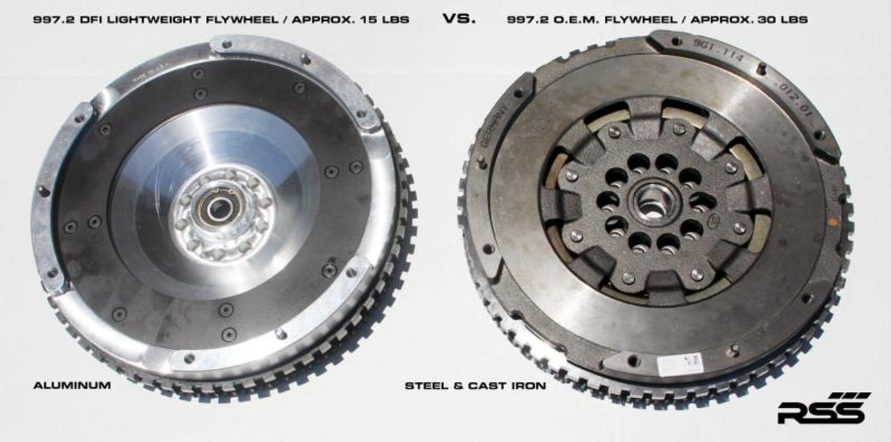 987.2 DFI 3.4L, and GT4 • Lightweight billet aluminum construction for improved performance • Replaceable heat shield (friction surface), eliminates flywheel resurfacing • Stepped dowel pins held captive by the clutch cover for increased security • OEM clutches bolt-on for quick and easy installation • High tolerance manufacturing to insure a perfect hassle free installation • Designed for normal street use for every day performance enthusiasts • Highest quality materials include 6061-T6 aluminum for the flywheel, treated steel for the heat shield and OEM quality starter ring gears • CAD designed and CNC machined to the finest quality standards • One year limited warranty on all production components • Made in U.S.A.