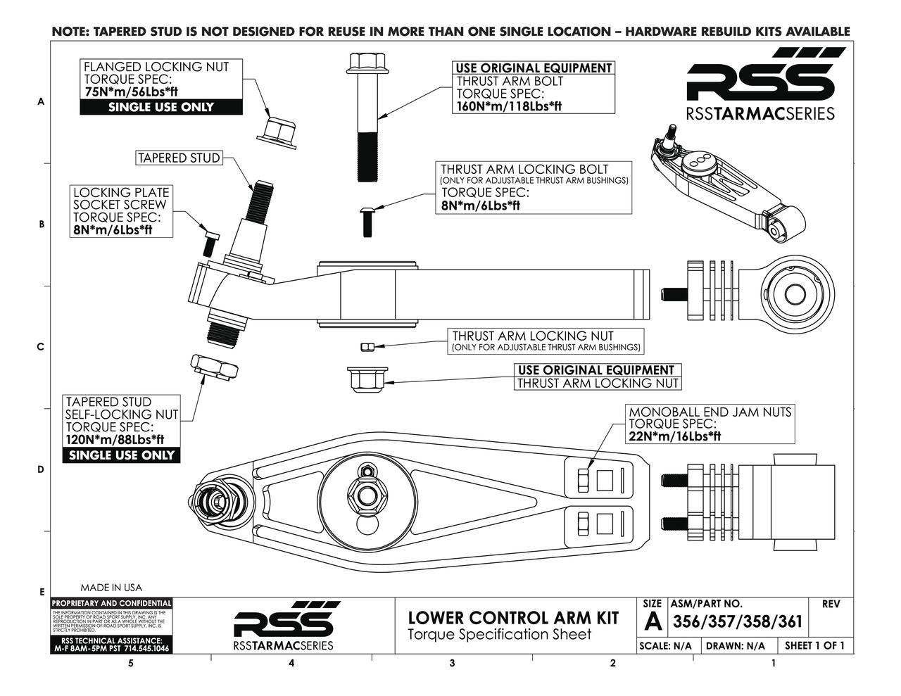 360  Thrust Arm Bushing/Puck - Castor Adjustable - Front Axle