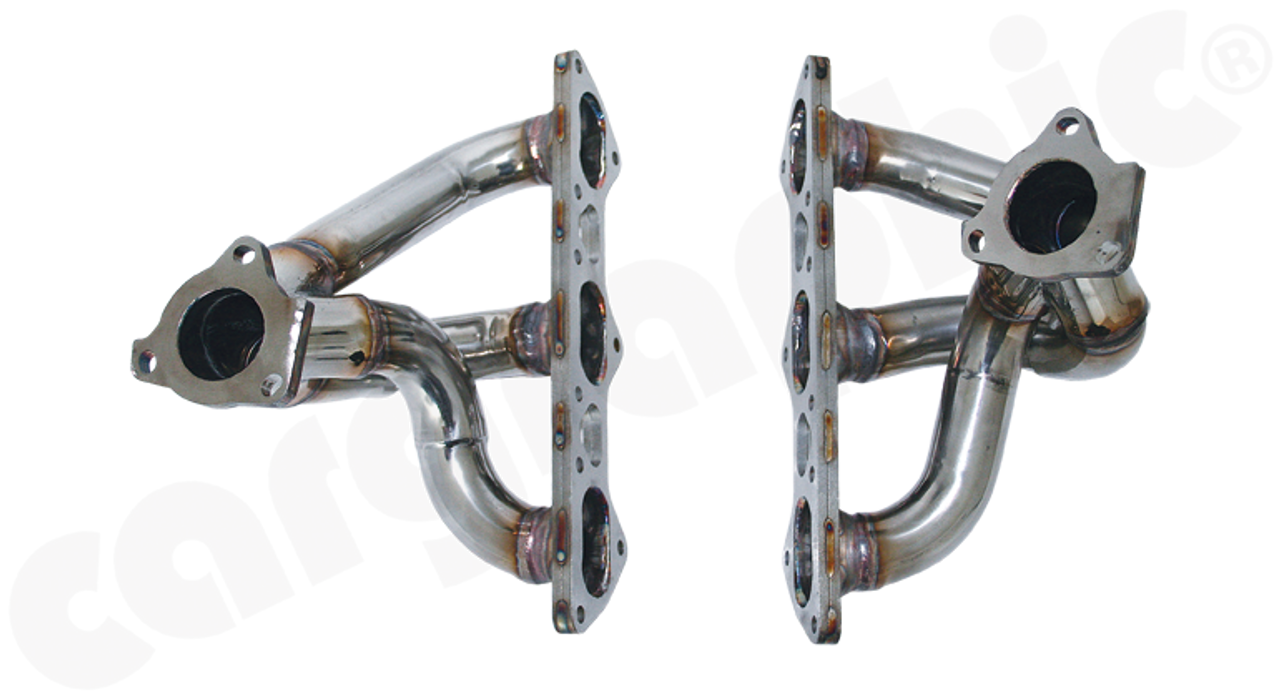 **NOTE: Special Order Item, call +714-557-2311 or email via contact page for current availability and shipping quote.** Stainless Steel Sport Manifold Set  - for Porsche 996 Turbo / Turbo S / GT2 - for Porsche 997.1 Turbo / 997.1 GT2 - for Porsche 997.2 GT2RS  PERFORMANCE +8kW(12PS) more power and 12Nm additional torque  New modular design with the possibility of interchanging components and fitment with OE / factory parts or additional CARGRAPHIC high performance parts.  Developed for maximum flow the equal length long tube primaries merge through a racing style spliced collector with spike and create the following further advantages: - Reduced backpressure - Reduced temperature - Smoother flow into turbocharger - Maximized performance - Enhanced sound  - Weight reduction  - Lasercut machined stainless steel flanges for    accurate plain fit  Part No: CARP97TFKR (Price Subject to Euro/Dollar Exchange Rate)
