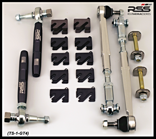"RSS - GT4 Cayman 981 Stage 1 Suspension Kit: ""Taking GT4 performance to a higher level"" The TS-1-GT4 Kit Features RSS Championship Winning Spherical Bearing/Monoball Technology: Kit includes 371 Front Bump Steer Kit, 302 Rear Toe Steer Kit, 333 Rear Eccentric Lock Out Plate Kit, and 308 Camber Shims Kits for Front and Rear Axles."