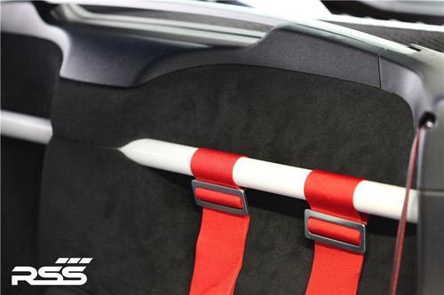 """The RSS """"950/32 - Light Weight"""" Series 2pt Harness Bar (White) for 981 Cayman / GT4 / 718, was designed for the """"Weight conscious Porsche owners who know that ounces equal pounds and pounds reduce performance."""" Engineered to maximize function, add rigidity, minimize added weight (+7 lbs), offer generous occupant seating space and integrate with interior. The Bar is a safety inspired design which secures safety harnesses directly behind the occupants shoulders. One piece bar design that mounts to the chassis cross member and does not effect rearward visibility. The Bar allows generous seat base travel with standard, OE bucket or racing bucket seats. Retains use of factory seat belts. Bolt-In installation, carpet, panel and tab trimming is required, Professional installation is recommended for a factory installed look. Designed, constructed and powder coated at RSS utilizing 1.50 inch DOM with precision cut reinforced mounting plates. Patent Pending Design."""