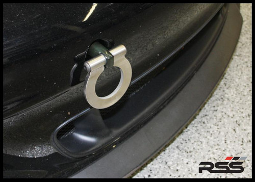 "RSS Tow Hooks for Porsche Automobiles. Designed, engineered and manufactured in USA. High quality and functionality for your Porsche. RSS Folding Tow Hooks for Porsche Models are engineered with a 90 Degree Angle Stop Design and with Adjustable Bumper Offset to prevent bumper cover contact. Made in USA at RSS. Easy to Install, Screws Into Factory Location; Black 1018 Steel Shaft w/Stainless Steel Hoop; Angle of Hoop is Adjustable; 2"" Opening; Utilizes Special Factory Porsche Thread. Fits 944Turbo, 968, 964, 993, 986, 996, 987 & 997 Models Including Turbo, GT3 & GT3RS"