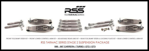 "RSS Part # TS-2 ""Tarmac Stage 2"" Suspension Kit (996, C2, C4, GT3, Turbo). Winner of the ""2014 Spanish Tarmac Rallye Championship"" Results Matter…not hype"" RSS Tarmac Stage 2 Suspension System (TS-2 or TS-2-BC) is the most rigorously engineered, tested, validated, and motorsport homologated aftermarket mono-ball suspension system available for your Porsche....Period! RSS TARMAC SERIES Motorsports Suspension Kits have been winning championships, races and setting track records in various forms of motorsport (Sports Car Racing, Endurance Racing and Rally) around the world. RSS is the preferred suspension of choice of professional race teams, tuners, track day junkies, and driving enthusiasts around the world. - 2013 ROLEX GRAND-AM GX CHAMPIONS - - 2014 Supplier of PIRELLI GT3 CUP TROPHY USA - 2014 FiA – GROUP GT RALLY WINNERS - 2015 PIRELLI WORLD CHALLENGE TC CHAMPIONS"