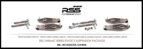 "RSS Part # TS-2-BC Tarmac Stage 2 Suspension Kit for Boxster/Cayman 987, 986 Boxster / Caymans. ""Winner of 2015 PIRELLI WORLD CHALLENGE TC CHAMPIONSHIP, 2013 ROLEX GRAND-AM GX CHAMPIONSHIP"". ""Results Matter…not hype"" RSS Tarmac Stage 2 Suspension System (TS-2 or TS-2-BC) is the most rigorously engineered, tested, validated, motorsport homologated aftermarket suspension system available for your Porsche....Period! RSS TARMAC SERIES Motorsports Suspension Kits have been winning championships, races and setting track records in various forms of motorsport (Sports Car Racing, Endurance Racing and Rally) around the world. RSS is the suspension of choice of professional race teams, tuners, track day junkies, and driving enthusiasts around the world. - 2013 ROLEX GRAND-AM GX CHAMPIONS - 2014 PIRELLI GT3 CUP TROPHY USA –- 2014 FiA – SPANISH RALLY TARMAC CHAMPIONS - 2015 PIRELLI WORLD CHALLENGE TC CHAMPIONS -"