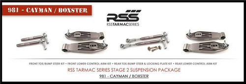 "RSS Part # TS-2BC-981/982-718 Tarmac Stage 2 Suspension Kit for Boxster / Cayman. ""Winner of 2015 PIRELLI WORLD CHALLENGE TC CHAMPIONSHIP, 2013 ROLEX GRAND-AM GX CHAMPIONSHIP"". ""Results Matter…not hype"" RSS Tarmac Stage 2 Suspension System (TS-2 or TS-2-BC) the most rigorously engineered, tested, validated, motorsport homologated aftermarket suspension system available for your Porsche....Period! RSS TARMAC SERIES Motorsports Suspension Kits have been winning championships, races and setting track records in various forms of motorsport (Sports Car Racing, Endurance Racing and Rally) around the world. RSS is the suspension of choice of professional race teams, tuners, track day junkies, and driving enthusiasts around the world. - 2013 ROLEX GRAND-AM GX CHAMPIONS - 2014 PIRELLI GT3 CUP TROPHY USA –- 2014 FiA – SPANISH RALLY TARMAC CHAMPIONS - 2015 PIRELLI WORLD CHALLENGE TC CHAMPIONS -"