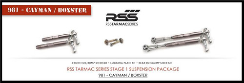 RSS Tarmac Series Suspension Kit - 981/982-718 Cayman / Boxster Stage - 1 Suspension Kit corrects lowered suspension geometry, eliminates rubber bushing deflection, sharpens your feedback, and improves vehicle handling dynamics. ADJUSTABLE FRONT & REAR TOE/BUMP STEER KITS- Correct suspension geometry changes in the front & rear of the lowered vehicle and allow additional toe adjustment at the toe steer arm. Features heavy duty, high tolerance monoball rod ends for precise suspension articulation. The rod ends are height adjustable to help reduce/eliminate bump steer. LOCKING PLATE KIT- Designed for use with our Adjustable Rear Toe/Bump Steer Kit. It replaces the factory eccentric bolt which can come loose under racing and/or aggressive driving conditions. Preserve your alignment settings with this kit.