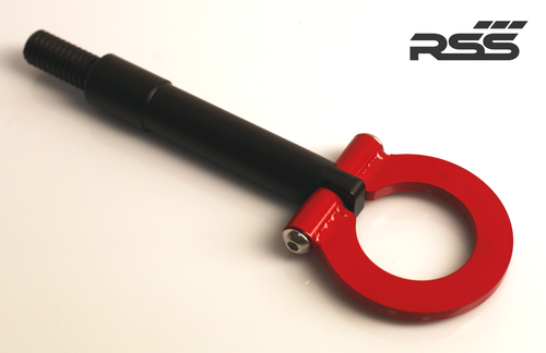 """RSS Tow Hooks for Porsche Automobiles. Designed, engineered and manufactured in USA. High quality and functionality for your Porsche. RSS Folding Tow Hooks for Porsche Models are engineered with a 90 Degree Angle Stop Design and with Adjustable Bumper Offset to prevent bumper cover contact. Made in USA at RSS. Easy to Install, Screws Into Factory Location; Black 1018 Steel Shaft w/Stainless Steel Hoop; Angle of Hoop is Adjustable; 2"""" Opening; Utilizes Special Factory Porsche Thread Style; 991.2 GT3/RS and Turbo: BLACK (#941/30), and RED (#941/34)."""