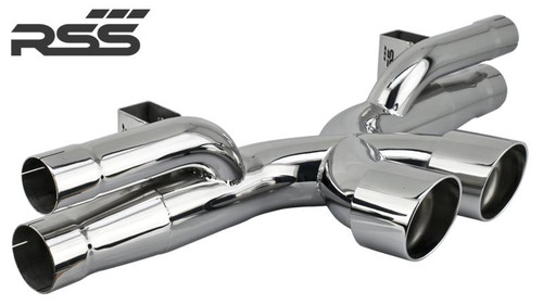 991.2 GT3/RS X-Pipe RSS Center Exhaust (High Polish Finish) RSS is proud to announce the release of the New 991.2 GT3/RS X-Pipe Center Exhaust. The 991 GT3 X-Pipe (1209 Series) features the Signature RSS Motorsport Sound with X-Cross Over Design and is engineered for sustained use at 9000 RPM! Designed specifically for the 991 GT3, the new X-Pipe features a very robust mounting system that eliminates the commonly used chassis mounting straps which are considered problematic and failure prone for sustained high RPM use. The RSS 991 GT3 X-PIPE CENTER EXHAUST (1209 Series) • One Piece Exhaust Featuring X-Crossover Design • Aggressively Tuned Motorsport Sound and Styling • 50% Weight Reduction Vs. OE Center Exhaust • Tig Welded 304 Stainless Steel Construction • Emissions Compliant: EU, EPA, and CARB • Finished in RSS Ceramic Ceramic Black, Handmade in Southern California, USA 1209/30 – Black Ceramic 1209/P – Polished Tips